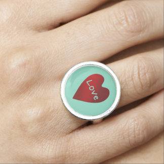 Coração do amor do vermelho e do dia dos namorados anéis com foto