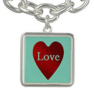 Coração do amor do vermelho e do dia dos namorados braceletes com pingente