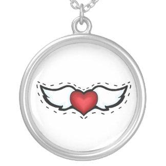 Coração do anjo colar com pendente redondo