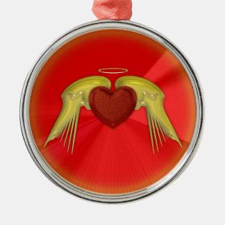 Coração do anjo ornamento redondo cor prata