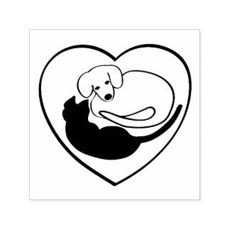 Coração do cão e gato/filhote de cachorro e do carimbo auto entintado