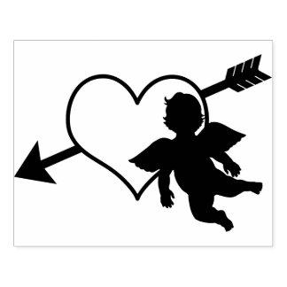 Coração do Cupido e namorados da silhueta   da Carimbo De Borracha