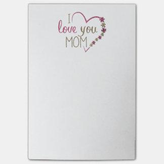 Coração do dia das mães da mamã do amor bloquinho de notas