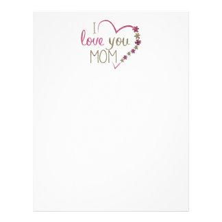 Coração do dia das mães da mamã do amor papel timbrado