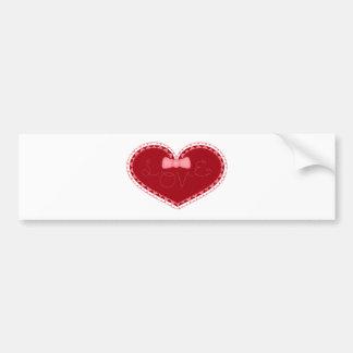 """Coração do dia dos namorados com o """"amor"""" costurad adesivo para carro"""