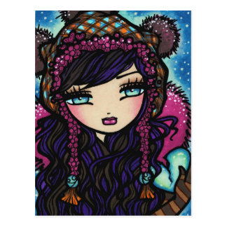 Coração do floco de neve do inverno do cartão da a cartão postal