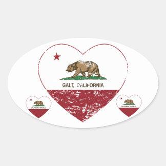 coração do galt da bandeira de Califórnia afligido Adesivo Oval