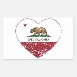coração do galt da bandeira de Califórnia afligido Adesivo Em Forma Retangular