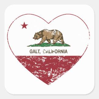 coração do galt da bandeira de Califórnia afligido Adesivo Quadrado