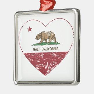 coração do galt da bandeira de Califórnia afligido Enfeite De Natal