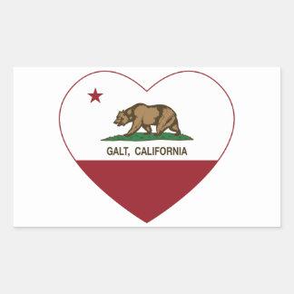 coração do galt da bandeira de Califórnia Adesivos Retangular