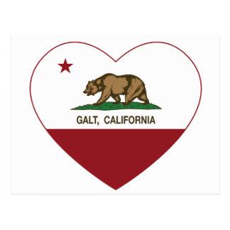 coração do galt da bandeira de Califórnia Cartão Postal