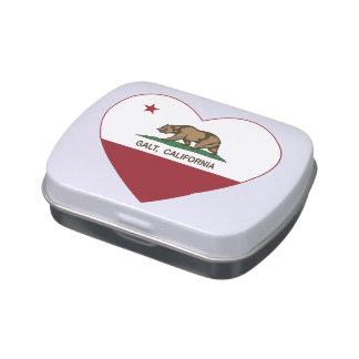 coração do galt da bandeira de Califórnia Latinhas Personalizadas
