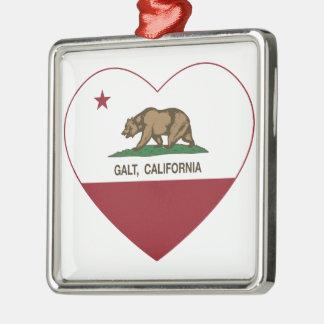 coração do galt da bandeira de Califórnia Ornamento Quadrado Cor Prata