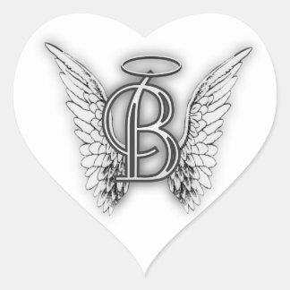 Coração do monograma do anjo adesivo coração
