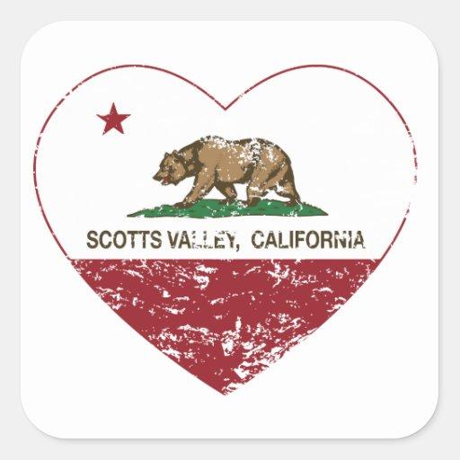 coração do vale dos scotts da bandeira de adesivos quadrados