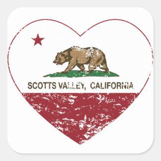 coração do vale dos scotts da bandeira de adesivo quadrado