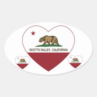 coração do vale dos scotts da bandeira de Califórn Adesivos Em Formato Ovais