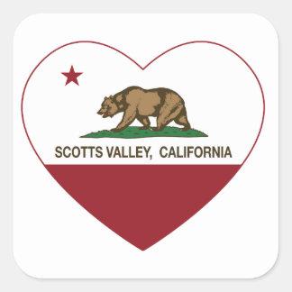 coração do vale dos scotts da bandeira de Califórn Adesivos Quadrados