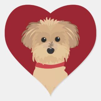 Coração do vermelho do amor do cão de Terrier Adesivo Coração
