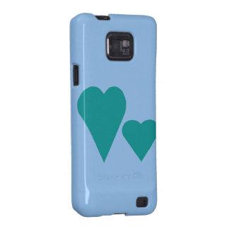 Coração dobro azul do amor capas para galaxy s2
