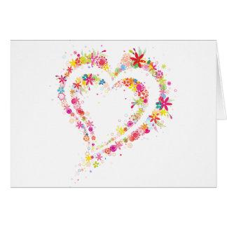 Coração dobro da flor cartão