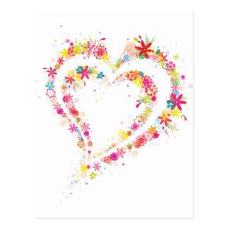 Coração dobro da flor cartão postal