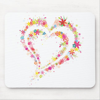 Coração dobro da flor mouse pads
