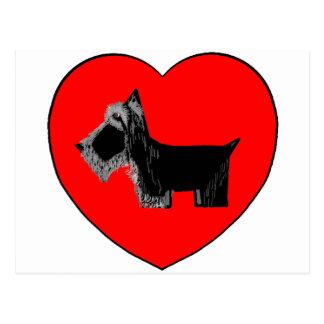 Coração dos namorados do cão do Scottie Cartão Postal