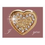 Coração dourado cartão postal