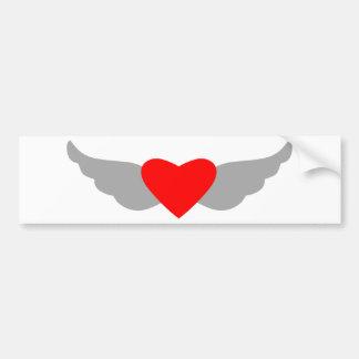Coração e asas adesivo para carro
