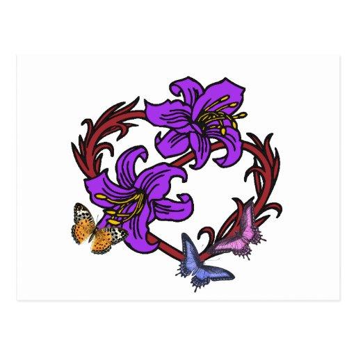 Coração e borboleta cartoes postais