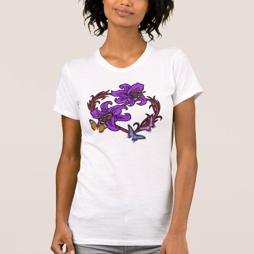Coração e borboleta tshirts