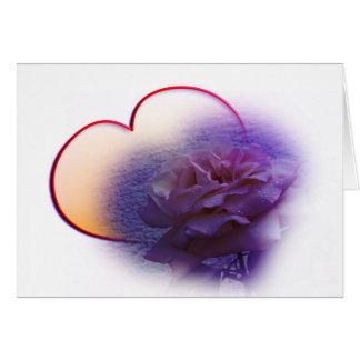 Coração e flor cartão