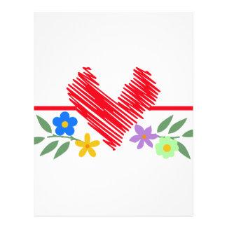 Coração e flores papel timbrado