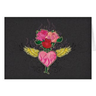 Coração e rosas Notecard Cartão De Nota