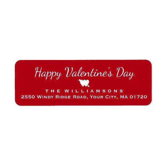 Coração e seta do feliz dia dos namorados etiqueta endereço de retorno