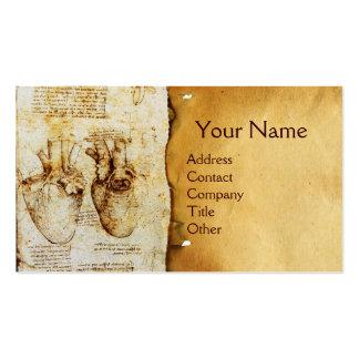Coração e seu monograma do pergaminho dos vasos cartão de visita