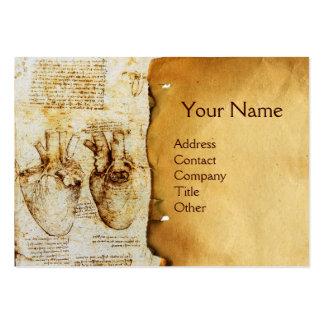 Coração e seu monograma do pergaminho dos vasos cartão de visita grande