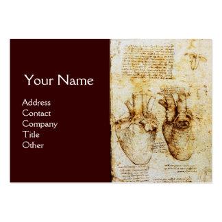 Coração e seu monograma dos vasos sanguíneos cartão de visita grande