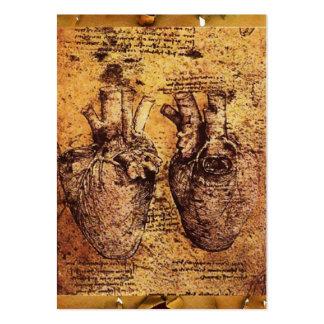Coração e seu pergaminho antigo dos vasos cartão de visita grande