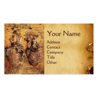 Coração e seu pergaminho antigo dos vasos cartão de visita