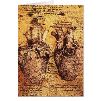 Coração e seu pergaminho dos vasos sanguíneos cartão comemorativo