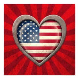 Coração envelhecido da bandeira americana com convite quadrado 13.35 x 13.35cm
