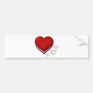 Coração estilizado vermelho com corações menores adesivo para carro