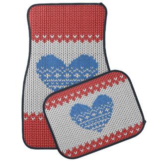 Coração feito malha vermelho do azul do amor do tapete de carro