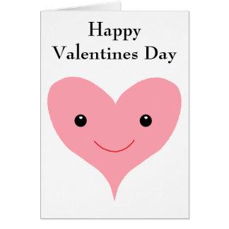 Coração feliz do rosa do dia dos namorados cartoes