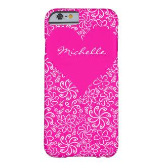 Coração floral no rosa com um nome capa iPhone 6 barely there