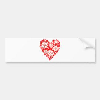 Coração floral vermelho e branco bonito adesivo para carro