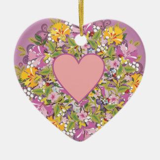 Coração, fundo das flores ornamentos